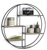 LIFA LIVING Runde Wandregal aus Holz und Metall Schwarz mit 4 Böden - Holzregal - Vintage und Natur...