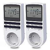 Digitale Zeitschaltuhr, BMK Digitale Elektrische Zeitschaltuhr Steckdos Großer LCD-Display und 10 x...