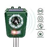INTEY Katzenschreck Ultraschall Solar und USB Batteriebetrieben, 5 Modus, Tiervertreiber mit LED...