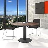 WeberBÜRO Optima runder Besprechungstisch Ø 120 cm Nussbaum Anthrazites Gestell Tisch Esstisch