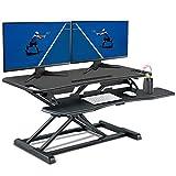 PUTORSEN Steh-Sitz Schreibtisch Sit-Stand Workstation Höhenverstellbarer Schreibtisch-Aufsatz Mit...