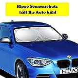 Hippo Sonnenschutz Auto, Sonnenblende Auto Frontscheibe für UV Schutz, Flexible Größe für Auto,...