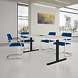 Weber Büro EASY Konferenztisch Bootsform 200x100 cm Weiß mit Elektrifizierung Besprechungstisch...