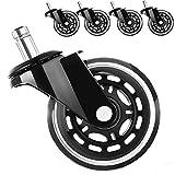 Bürostuhlrollen 5er Set Hartbodenrollen 10/11mm x 22 mm Premium Caster Räder für Parkett Laminat,...