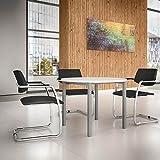 NOVA runder Besprechungstisch Ø 100 cm Weiß Silbernes Gestell Tisch Esstisch Küchentisch