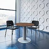 WeberBÜRO Optima runder Besprechungstisch Ø 80 cm Nussbaum Silbernes Gestell Tisch Esstisch