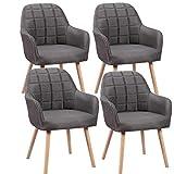 HENGMEI Esszimmerstühle 4er Set Wohnzimmerstuhl Küchenstühle Bürostuhl mit armlehne für Küche,...