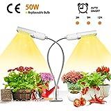 Niello 50W Sunlike Lamp Auto Timer LED Pflanzenlampe Vollesspektrum Wachstumslampe, Zweikopf LED...