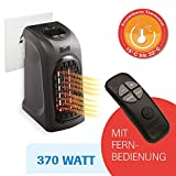 LIVINGTON Handy Heater 370 Watt inkl Fernbedienung Effektive Keramik Mini Heizung für die Steckdose...
