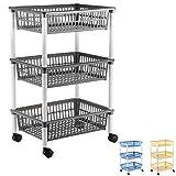axentia Küchenwagen mit 3 Körben, Transportwagen auf Rollen, Rollwagen für Küche und Büro,...