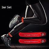 ZNEX LED Armband Leuchtarmband für Sport & Outdoor, 2er Set rot/rot. Hell leuchtendes LED Jogging...