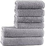 Seventex Reines Organisches Ägäis Baumwolle 6 Stück Handtuch Set, 2 Badetücher, 4 Handtücher,...