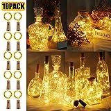 10 Stück LED Flaschenlicht, BIG HOUSE 20 LEDs 2M Lichterkette Kupferdraht batteriebetriebene...