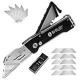 BIBURY Cuttermesser, Portabel Teppichmesser Profi, Faltbares Universalmesser mit 15 Extra SK5...