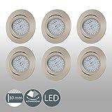 B.K.Licht I 6er Set schwenkbare LED Einbaustrahler I Ultra Flache LED Spots 30mm I inkl. 6x 5W LED...