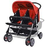 Festnight Klappbar Zwillingswagen Baby Zwillingskinderwagen Kinderwagen 93 x 68 x 103 cm Geeignet...