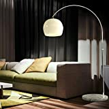 CCLIFE LED E27 Bogenlampe höhenverstellbar Marmorfuß weiß orange Stehlampe Stehleuchte...