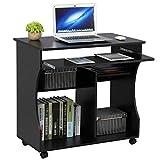 Yaheetech Computertisch mit Tastaturauszug, rollbar Schreibtisch mit Ablagen, Büromöbel,...
