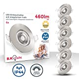 B.K.Licht I 6er Set LED Bad Einbauleuchten I Ultra Flach 25mm I Ø90mm I Matt-Nickel I 6 x 5W LED...