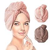 RenFox Haarturban, Turban Haartrockentuch mit Knopf 2 pcs Handtuch Kopftuch Schnelltrocknend...