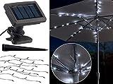 Luminea Solar Schirm Beleuchtung: Solar-LED-Sonnenschirm-Lichterkette mit 8 Strängen und 72 LEDs,...
