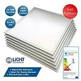 6x LED Panel, Deckenleuchte, 62x62cm, 3000lm, 4500K neutralweiß, ultraslim, 36W, inkl. Trafo,...