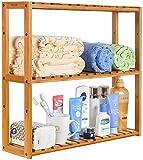 Homfa Wandregal aus Bambus Badregal Hängeregal Kücheregal 3 Ablage Wandschrank Aufbewahrung für...