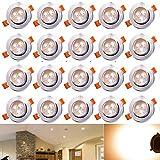 Hengda® 20 x 3W LED Einbauleuchte Wohnzimmer Decken Leuchte Lampe Spot Strahler Set 2800-3200k...