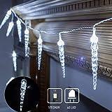 40 LED Lichterkette Eiszapfen Eisregen Lichtervorhang Weihnachtsbeleuchtung für Innen Außen Garten...
