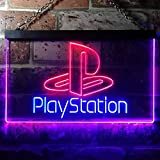 zusme Playstation Game Room Kid Novelty LED Neon Sign Blue + Red W30cm x H20cm