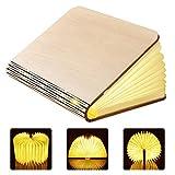 GEEDIAR Große LED Buch lampe in Buch Form Holzbuch mit 2500 mAh Akku Lithium Nachttischlampe...