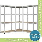Juskys 3er Metall Regalsystem Easy | 1 Eckregal & 2 Lagerregale | 12 Böden aus MDF Holz | 960 kg |...