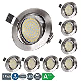 LED Einbaustrahler Flach 230V 5W LED Spots Schwenkbar Deckenspot Warmweiß 3000K, Runden Stahl IP20...