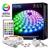 BASON RGB LED Strip, 5m Led Streifen mit 4096 Farben-DIY Flexible LED Leiste, SMD 5050 LED Stripes,...