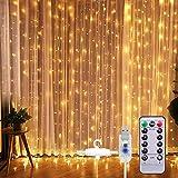 SUNNEST LED Lichterketten Lichtervorhang 300 LEDs USB Vorhanglichter String Light 8 Modi mit...
