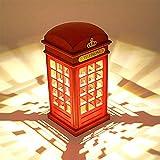 Nachttischlampe,Vintage London Telefonzelle entworfen Motiv-Lampen Dimmbare LED Lampe Touch Sensor...