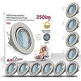 LED Einbaustrahler I Schwenkbar I Inkl. 10 x 3W GU10 Leuchtmittel I IP23 I Warmweiße Lichtfarbe I...