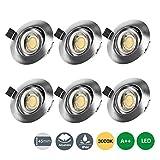 LED Einbaustrahler Flach 230V, 7W IP44 Schwenkbar Einbauleuchte LED Spots Deckenspot Warmweiß mit 3...