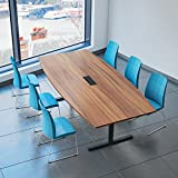 Weber Büro Easy Konferenztisch Bootsform 240x120 cm Nussbaum mit Elektrifizierung Besprechungstisch...