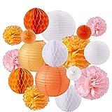 BENECREAT 17PCS Orange rosa wei?es Thema Papier Pom Poms Papier Blumen Papier Laternen Wabenballe...