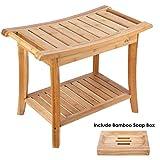HOMECHO Badhocker Bambus Duschhocker mit 2 Etagen Sitzhocker mit Seifenkiste Bambus Badezimmerhocker...