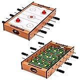 COSTWAY 2 in 1 Spieltisch, Multifunktionsspieltisch aus Holz, Multi-Spieltisch, Air Hockeytisch und...