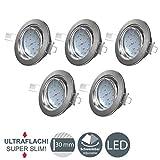 B.K.Licht I 5er Set schwenkbare LED Einbaustrahler I Ultra flache Spots 26 mm I 3.000K warmweiße...