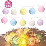 Cotton Ball Lights,Sporgo Cotton Ball Lichterkette 3M 20 LED Lichterkette Bälle Mit USB...