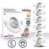 B.K.Licht I 6er Set LED Einbaustrahler I Warmweiß I Schwenkbar I 6x 5Watt I 6x 460 Lumen I Ultra...