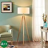 Lampenwelt Dreibein Stehlampe 'Mya' (Für Kinder, Junges Wohnen) in Weiß aus Textil u.a. für...