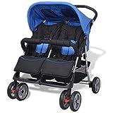 mewmewcat Baby Zwillingswagen Klappbar Zwillingskinderwagen Kinderwagen aus Stahl + Oxfordgewebe...