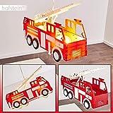 Pendelleuchte Praya, rotes Feuerwehrauto als Hängelampe aus Kunststoff für das Kinderzimmer, 2 x...
