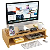 Homfa Bildschirmständer aus Bambus Stauraum von Zwei Schichten für Monitorständer...