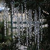 DAHI Christbaumschmuck eiszapfen Anhänger 25 Stück - Acryl eiszapfen deko weihnachtenbaum...